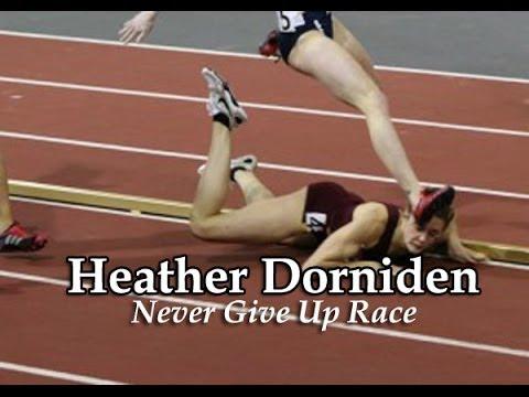 VIDEO – Iedvesmojoša skrējēja nokrīt, taču tāpat uzvar sacīkstēs! (Inspiring Heather Dorniden Takes a Fall But Still Wins the Race)