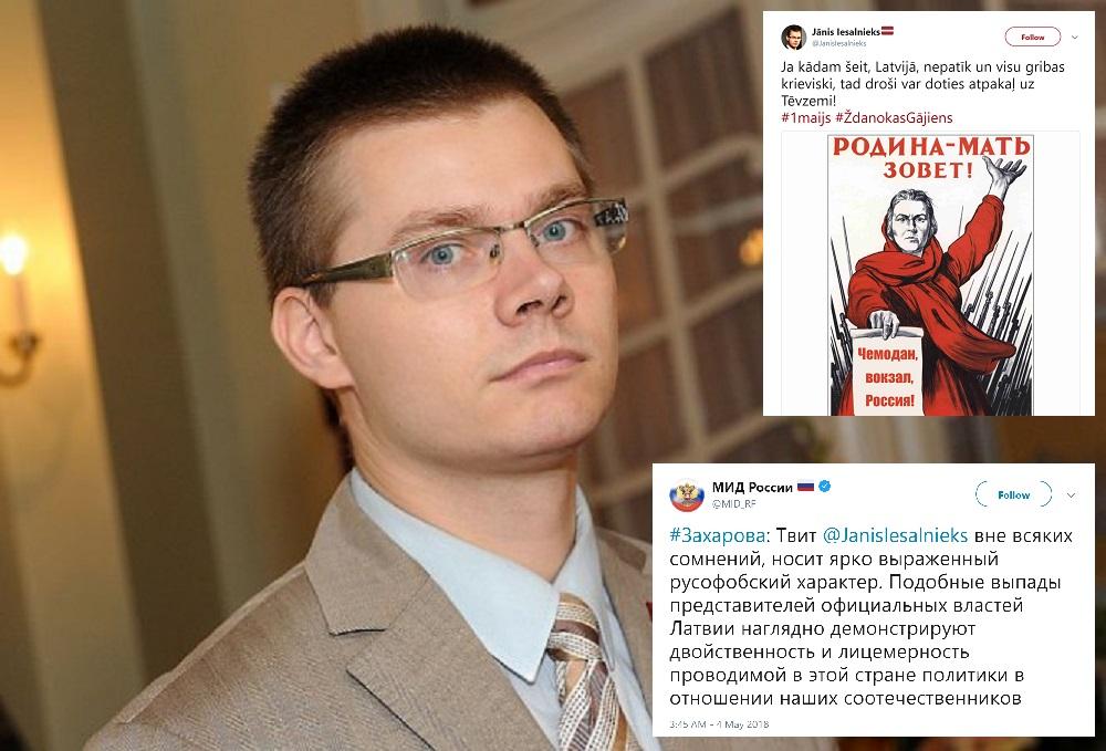 Jāņa Iesalnieka tvīts izsauc asu Krievijas ārlietu ministrijas reakciju!