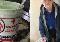 Smieklīgi – vectēvs apēd pusi krāsas bundžas, domādams, ka tas ir jogurts