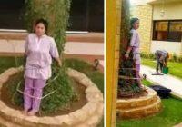 Istabeni soda piesienot pie koka par to, ka atstājusi mēbeles saulē