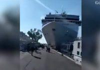 VIDEO: Kruīza kuģis Venēcijā ietriecas piestātnē un tūristu laivā; vairāki cilvēki ievainoti